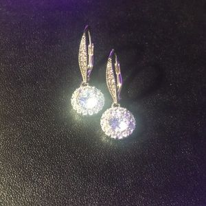 Cubic Zirconia crystal flower earrings